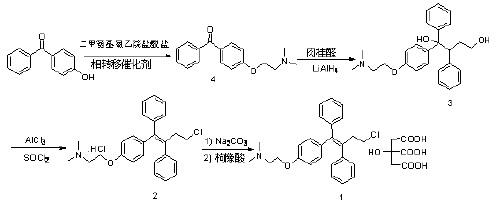 方法3中枸橼酸托瑞米芬合成路线