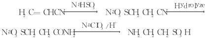 以丙烯腈为原料合成法的反应式