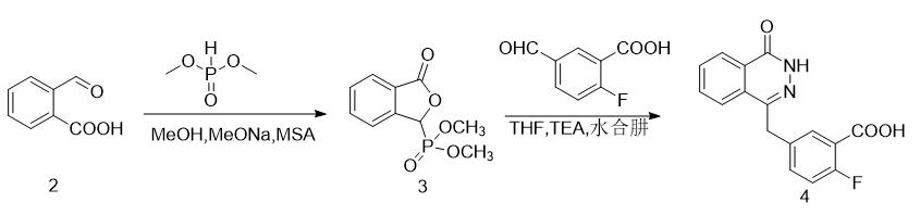 5-[(3,4-二氢-4-氧代-1-酞嗪基)甲基]-2-氟苯甲酸的合成路线